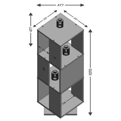 FMD roterende arkivskab åbent 34 x 34 x 108 cm sand-egetræsfarve