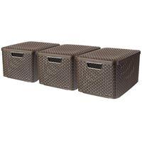 Curver opbevaringskasse med låg Style 3 stk. str. L brun 240651