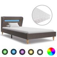 vidaXL seng med LED og madras 90 x 200 cm stof gråbrun