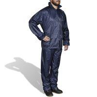 Mænds Blå 2 Dele regn Dragt med hætte XL