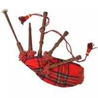 vidaXL Scottish Great Highland sækkepibe til børn rød Royal Stewart skotskternet