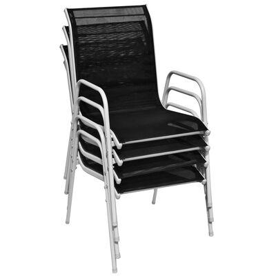 vidaXL havestole 4 stk. stabelbare stål og textilene sort