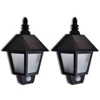 vidaXL væglampe soldrevet med bevægelsessensor 2 stk.