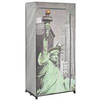 vidaXL klædeskab 75 x 45 x 160 cm stof New York-mønster