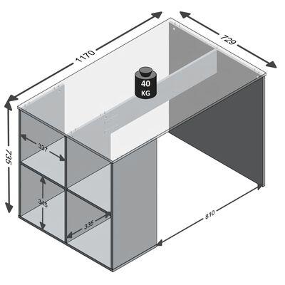 FMD skrivebord med sidehylder 117 x 72,9 x 73,5 cm hvid
