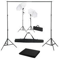 vidaXL fotostudiesæt med baggrund, lamper og paraplyer