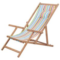 vidaXL foldbar strandstol stof og træstel flerfarvet