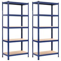 vidaXL opbevaringsreoler 2 stk. 80 x 40 x 180 cm stål MDF blå