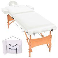 vidaXL foldbart 2-zoners massagebord 10 cm tykt hvid