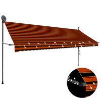 vidaXL manuel foldemarkise med LED 400 cm orange og brun