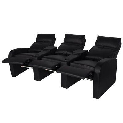 vidaXL LED lænestol i to dele 2+3 sæder kunstlæder sort
