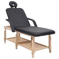 vidaXL massagebord 3 zoner kunstlæder sort