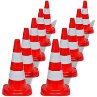 vidaXL reflekterende trafikkegle 10 stk. 50 cm rød og hvid