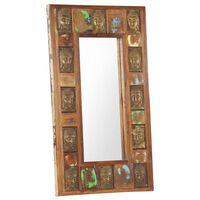 vidaXL spejl med buddha-billeder 50x80 cm massivt genbrugstræ