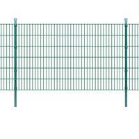 vidaXL 2D paneler og pæle til havehegn, 2.008x1.230 mm, 34 m, grønne