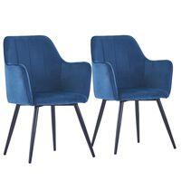 vidaXL spisebordsstole 2 stk. fløjl blå