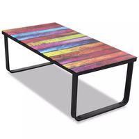 vidaXL sofabord med regnbueprint glasbordplade