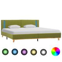 vidaXL sengestel med LED 160 x 200 cm stof grøn