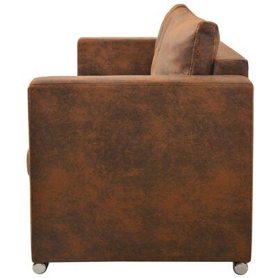 vidaXL 3-personers sofa 191 x 73 x 82 cm kunstigt ruskindslæder