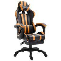 vidaXL gamingstol med fodstøtte kunstlæder orange