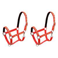 vidaXL hovedtøj til heste 2 stk. nylon str. cob rød