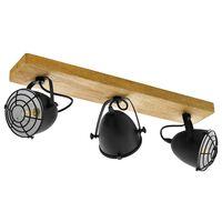 EGLO spotlampe Gatebeck 3 pærer stål og træ sort