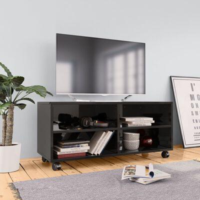 vidaXL tv-skab med hjul 90 x 35 x 35 cm spånplade sort højglans