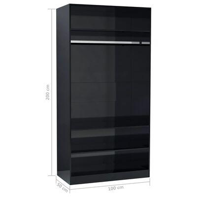 vidaXL klædeskab 100 x 50 x 200 cm spånplade sort højglans