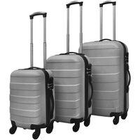 vidaXL kuffertsæt i 3 dele hardcase sølv