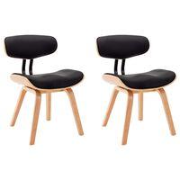 vidaXL spisebordsstol 2 stk. bøjet træ og kunstlæder sort