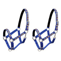vidaXL hovedtøj til heste 2 stk. nylon str. pony blå