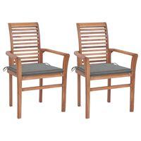 vidaXL spisebordsstole 2 stk. med grå hynder massivt teaktræ