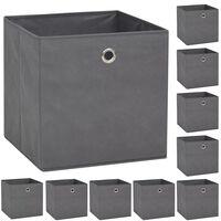 vidaXL opbevaringskasser 10 stk. uvævet stof 32 x 32 x 32 cm grå