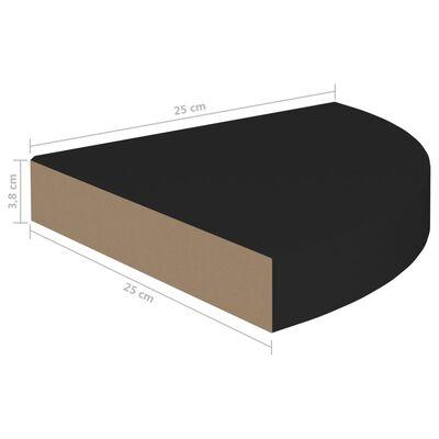vidaXL svævehylder til hjørne 4 stk. 25x25x3,8 cm MDF sort