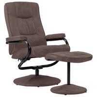 vidaXL lænestol med fodskammel imiteret ruskind brun