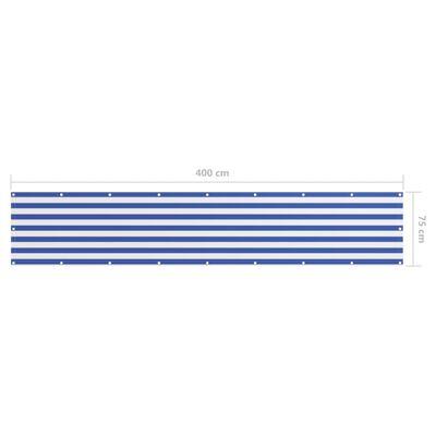 vidaXL altanafskærmning 75x400 cm oxfordstof hvid og blå