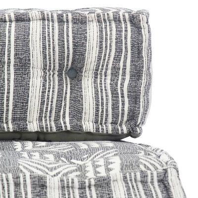 vidaXL puf stof grå striber