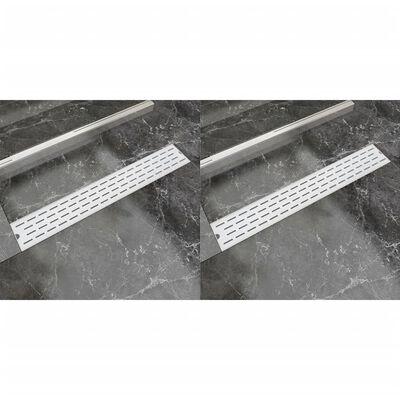 vidaXL lige bruseafløb 2 stk. linje 730 x 140 mm rustfrit stål