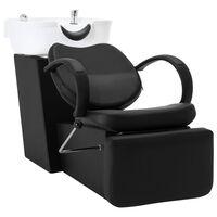 vidaXL salonstol med vask kunstlæder sort og hvid