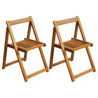 vidaXL foldbare havestole 2 stk. massivt akacietræ brun