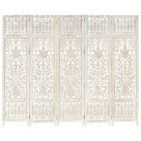 vidaXL 5-panels rumdeler håndskåret 200x165 cm massivt mangotræ hvid