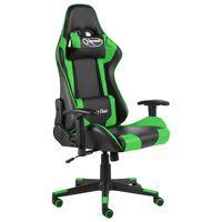 vidaXL drejelig gamingstol PVC grøn