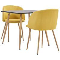 vidaXL spisebordssæt 3 dele stof gul