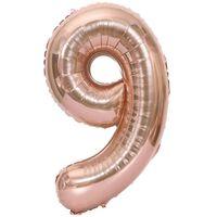 Nummerballon 102 Cm, Nummer 9 - Pink