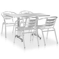 vidaXL udendørs spisebordssæt 5 dele aluminium sølvfarvet