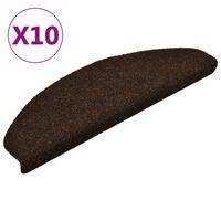 vidaXL selvklæbende trappemåtter 10 stk. 65x21x4 cm tuftet brun