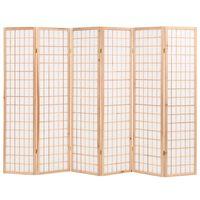 vidaXL foldbar 6-panels rumdeler japansk stil 240 x 170 cm naturfarvet