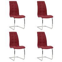 vidaXL spisebordsstole med cantilever 4 stk. stof vinrød