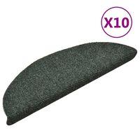 vidaXL selvklæbende trappemåtter 10 stk. 56x17x3 cm tuftet grøn