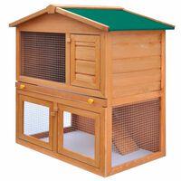 vidaXL udendørs bur til små kæledyr 3 døre træ